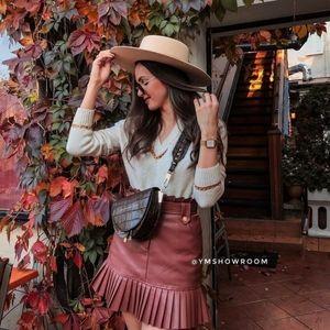 ZARA Pleated PU leather skirt